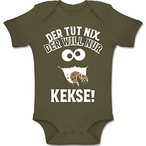 Shirtracer Sprüche Baby - Der TUT nix. Der Will nur Kekse! - 12-18 Monate - Olivgrün - BZ10 - Baby Body Kurzarm Jungen Mädchen (Baby Kostüm Monster Cookie)