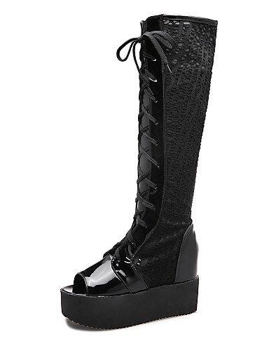 ShangYi Mode Frauen Schuhe Damenschuhe Tüll Plattform Keile / Peep Toe / Plattform / Fashion Stiefel Schuhe / Stiefel Outdoor / Kleid Schwarz Weiß