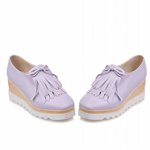 Mee Shoes Damen vierkant Quaste Keilabsatz Plateau Pumps Lila