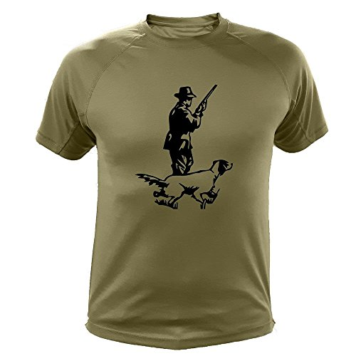 Camiseta de Caza, Cazador y Perro, Regalos para Cazadores (164, Verde, L)