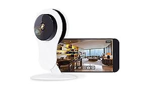 NETVUE Caméra de Surveillance Full HD 1080P Système de Sécurité Caméra IP avec alarme de détection de mouvement, zoom numérique 4x, P2P blanc(Euro Adapter)