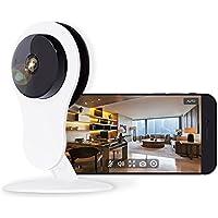 NETVUE Telecamera di Sicurezza IP WiFi con Allarme di Rilevazione di Movimento, Zoom Digitale 4X, Visione Notturna e Audio Bidirezionale, P2P Bianco (1080P Euro)