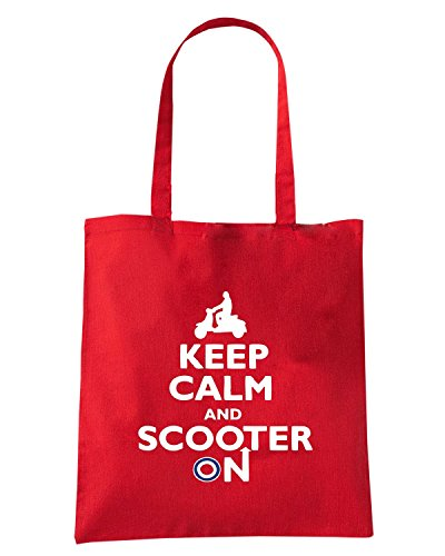 T-Shirtshock - Borsa Shopping WC0431 Keep Calm and Scooter On Rosso