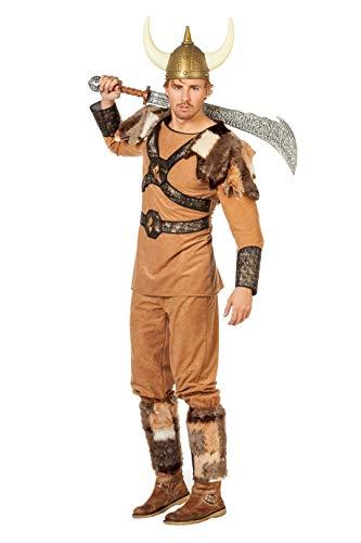 The Fantasy Tailors Wikinger Herren-Kostüm Braun mit Fell (ohne Mütze) Karneval Fasching Verkleidung Größe 52 Beige