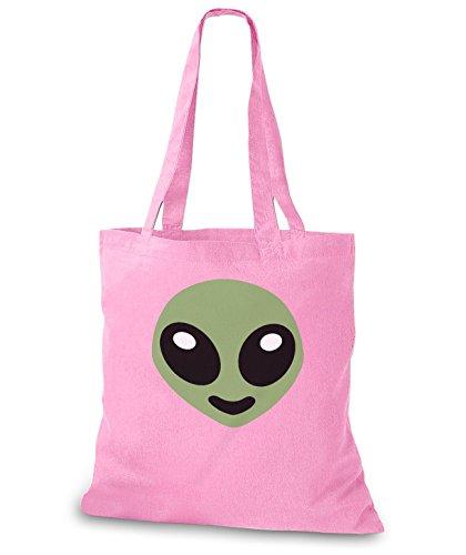 StyloBags Jutebeutel / Tasche Happy Alien Rosa