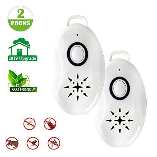 F&W Tragbarer USB-Ultraschall-Mückenschutz für den Außenbereich zur allseitigen Schädlingsbekämpfung von Kakerlaken, Spinnen, Ameisen, Mücken, Mäusen, Bettwanzen und Flöhen (2PCS)