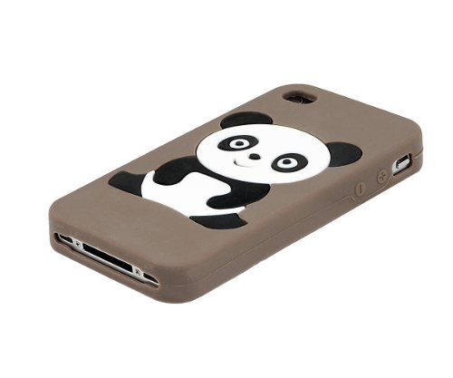 Xcessor Panda Gummi Silikon Schutzhülle Für Apple iPhone 4 4S braun braun