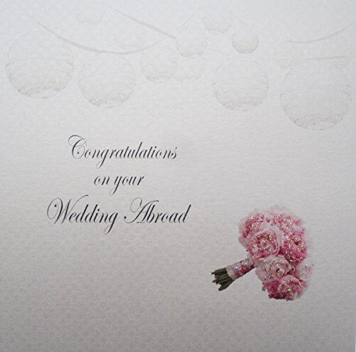 White Cotton Cards Carte de félicitations sur Votre Carte de Mariage à l'étranger Bouquet et lanternes, Blanc