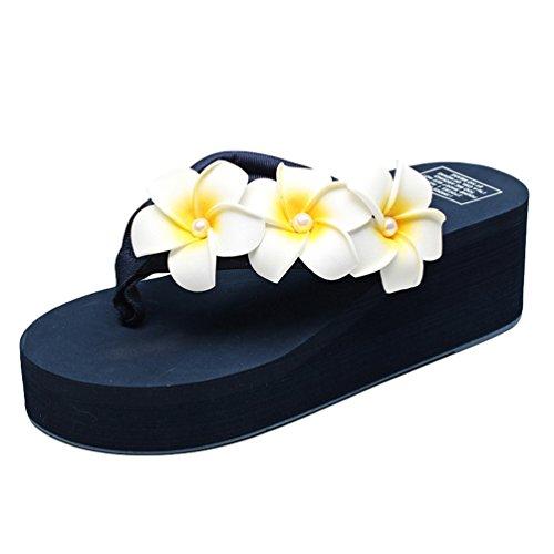 Senhoras Youjia Boho Dedos Dos Pés Florais Trenner Verão Sapatos De Praia Sapatos De Cunha Planalto Chinelo # 6 Azul