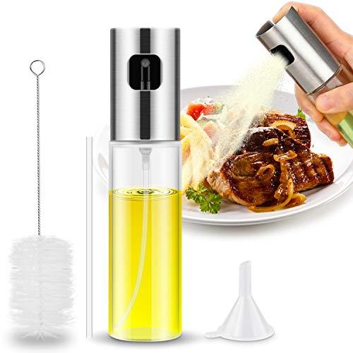 Magicfun Dispensador de pulverizador de Aceite Premium 304 Acero Inoxidable para Asar a la Parrilla Botella de Vidrio de Aceite de Oliva 100 ML para cocinar/Ensalada/Hornear Pan/BBQ/Cocina