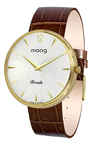 Moog Paris Ronde Classic Women's Watch with Silver Dial, Brown Strap in Genuine Leather - M41671-C31