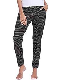 Aibrou Pantalones de Pijama Mujer Invierno Pantalón Largo Algodón de a Rayas Otoño
