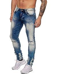 369f3304f15b John Kayna Herren Biker Jeans Justing Denim Stonewashed Destroyed Slim Fit  Skinny