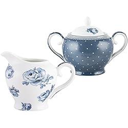 Katie Alice Cottage Flower de Porcelana, Creative Tops Shabby Chic Padre de azucarero y jarrita, Porcelana, Azul, 8.000x12.500x25.000 cm