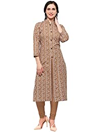 Kanchnar Women's Brown Color Cotton Printed Kurti