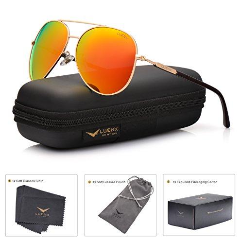 LUENX Herren Sonnenbrille Aviator Polarisiert mit Etui - UV 400 Schutz Spiegel Orange Linse Gold Rahmen 60mm