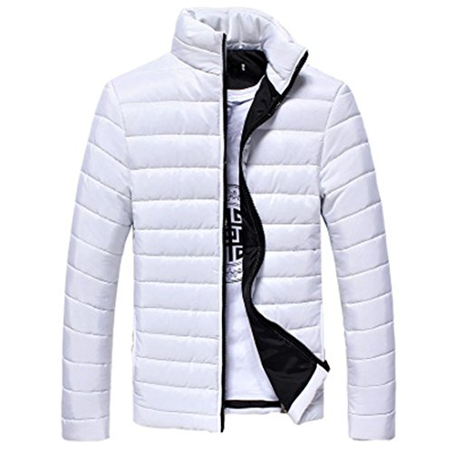 Mantel Herren AMUSTER Herren Warme Jacke mit Kapuze Winter Langer Solide T-Shirt Lange Ärmel Loose Fit Mantel Baumwolle Mantel Outwear M~3XL (XL, Weiß) (Solide Muster Baumwolle)