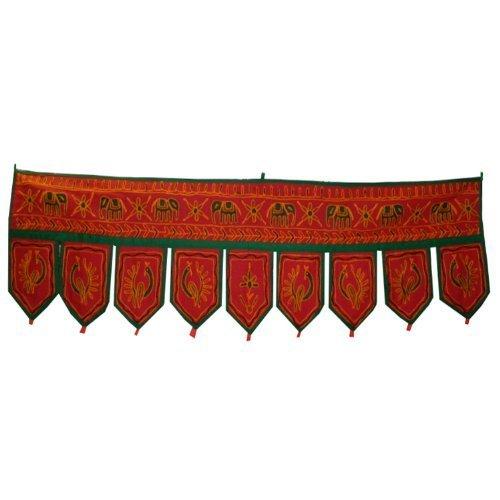 Decorazione toran per porte o finestre 9 bandierine artigianato indiano tessuti tessili accessori decorazione casa