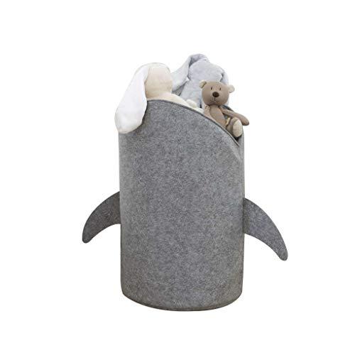 fgghfgrtgtg Kinder zusammenklappbarer Cartoon Shark Flannelette Wäschekorb Spielzeug Lagerplätze Korb-Beutel-Organisator -