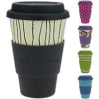 Taza amuleto de café para llevar de ebos hecha de bambú | Taza de café, taza para beber | Biodegradable, reciclabe y respetuoso con el medio ambiente | Seguro para alimentos, apto para lavavajillas (Dark Stripes)