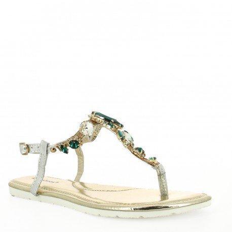 Ideal Shoes - Sandales plates avec chaîne en maille incrustée de strass Vinciane Vert