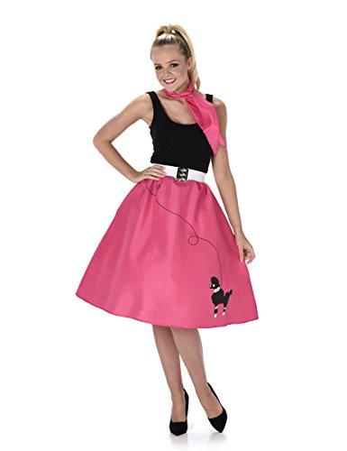 Fuchsiafarbenes 50er Jahre Kostüm für Damen M (Pudel Adult Kostüme)