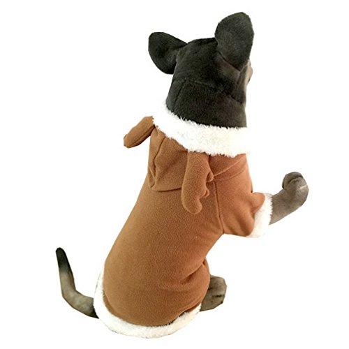 selmai Pet Weihnachtskostüm Rentier Hund Kostüm mit Kapuze Hundemantel Fleece Medium Große Hunde Kleidung Warm