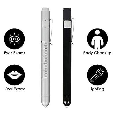 Medizinische Diagnostik Penlight (2 Packungen), CAVN Wiederverwendbare Medizinische LED Penlight mit Schüler Manometer für Krankenschwestern Ärzte mit Taschenclip von CAVN