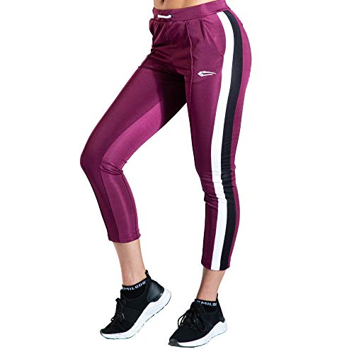 SMILODOX Damen Jogginghose Obsession | Trainingshose | Sport & Gym | Fitness | Freizeit | Sporthose | Jogger, Größe:S, Farbe:Bordeaux