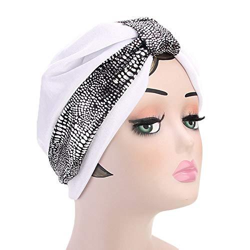 Likecrazy Frauen Turban Retro Kopftuch Elegante Stretch Schal Hijab Chemo Atmungsaktiv Kopfschmuck für Haarausfall Damen Krebs Kopfbedeckung