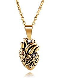 ed4f493afef1 ztuo Edelstahl Anatomisches Herz Halskette Echthaar Organ Herz Filz  Anhänger für Damen Herren Gold Silber