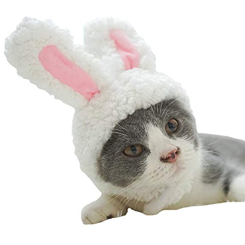 MUYAOPET Muyaotet Hasenohren für Katzen und kleine Hunde Party Kostüm Outfits Hund Hut Stirnband Nackenwärmer, S(Neck Circumference:11.8