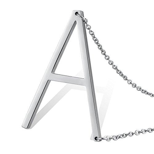 Aeici Argento Collana per Uomo/Donne Design Unico Lettera Maiuscola Forma A Lunghezza: 49.5CM