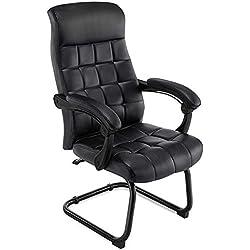Chaise de Bureau 140 ° Grand Fauteuil inclinable en polyuréthane pour Ordinateur avec accoudoir rembourré et emboîtable Conception du Pied Avant Capacité de Charge maximale 330 lbs,Noir
