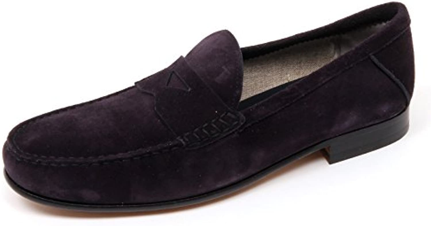 TOD'S D0040 Mocassino Uomo Scarpa Blu Che TENDE Marrone Scuro Loafer Shoe Man