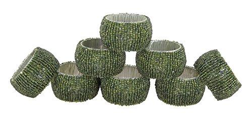 Schmetterling Gelber Ring (Shalinindia Perlen Serviettenringe - Set Von 8 Ringe - Grüne Serviettenringe Set - Durchmesser-1,5 Zoll)