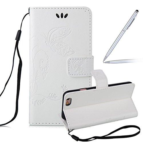 """iPhone 6S plus Wallet Case, Felfy Grün Slim Flip Folio Bookstyle Schutzhülle Case Cover für Apple iPhone 6 / 6S plus 5.5"""" Unique Baum Blatt Magnetverschluss Stil Standfunktion Kartenfach mit Abnehmbar weiß Hülle"""