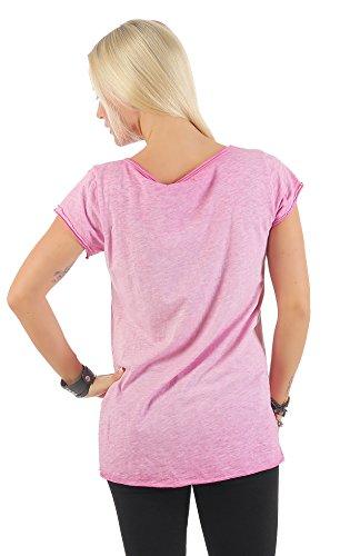 IKONA21 – Fashion Italy Damen Shirt Bluse Tunika Longshirt Onesize S M L 36 38 40 42 500 567 Pink