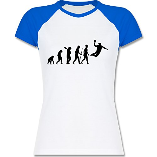 Evolution - Handball Evolution - zweifarbiges Baseballshirt / Raglan T-Shirt für Damen Weiß/Royalblau