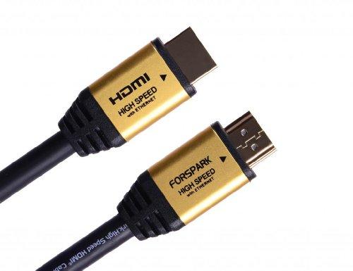 FORSPARK 25piedi/7,5metri primo cavo HDMI High Speed con Ethernet in metallo oro custodia a tipo A Supporto HDMI Ethernet, canale di ritorno Audio, 3d, 4K,