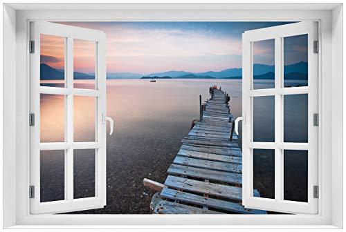Wallario Acrylglasbild mit Fenster-Illusion: Motiv Steg am See- Idylle bei Sonnenuntergang - 60 x 90 cm mit Fensterrahmen in Premium-Qualität: Brillante Farben, freischwebende Optik