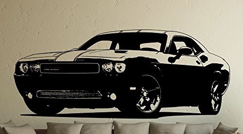 sticker-mural-fast-and-furious-6-dodge-challenger-vinyle-noir-xl