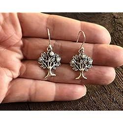 Boucles d'oreilles arbre de vie avec fruits artisanales en argent 925 pendantes 3 cm