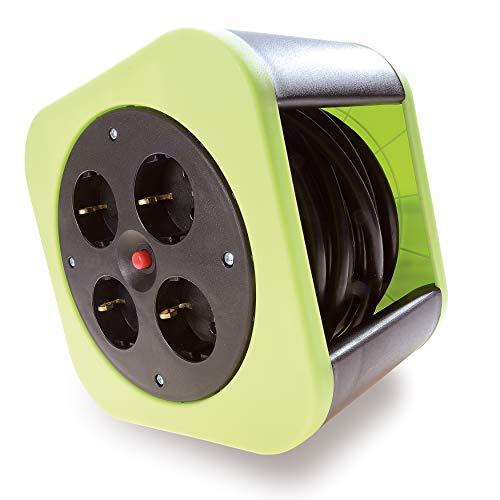 Mini Kabeltrommel 10m Indoor 4fach - Design Kabelrolle Kunststoff in Grün mit Thermoschalter als Überhitzungsschutz, stapelbar - originelle und flexible Stromversorgung für Haus, Wohnung, Büro -