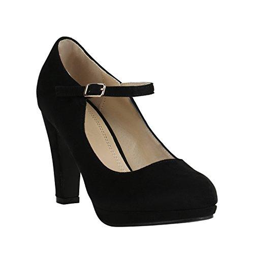 Damen Schuhe Plateau Pumps Lack Spangenpumps High Heels Blockabsatz 157223 Schwarz Brito 41 Flandell - Heel Mary Jane Pump