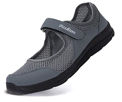 Pastaza Outdoor Fitnessschuhe Damen mit Klettverschluss Leicht Weich Flache Halbschuhe Mesh Atmungsaktive Casual Walking Schuhe,Grau - 35 EU -