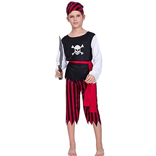 UYSK Halloween Piraten Skelett Kinder Jungen Cosplay Kostüme Bühnenkleidung Größe Standard Mit Vertrauen kaufen Schwarz Größe: S-XL Geeignetes Alter: 6-12 Jahre - Ghost Piraten Kostüm Kind