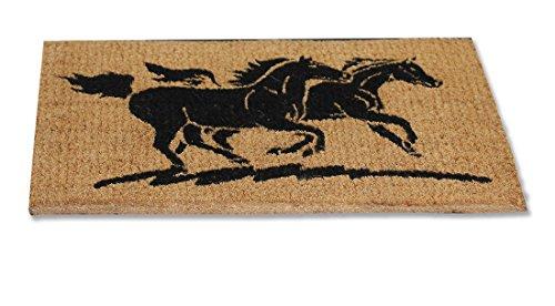 Fußmatte mit Pferdemotiv 2 Pferde Kokos Maße: ca. 59 x 39 cm