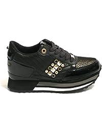 Apepazza Sneaker Running MOD. Raya in Pelle Tessuto Nero Gold Donna D19AP01 e3f406eaf23