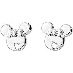 Pendientes Findout. Pendientes de Mickey Mouse de plata de ley, para mujer y niñas(s1480)
